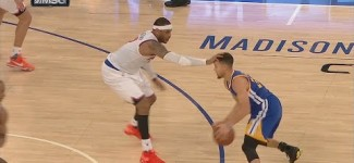 Carmelo Anthony's Stiff-Arm Defense on Stephen Curry | January 31, 2016 | NBA 2015-16 Season